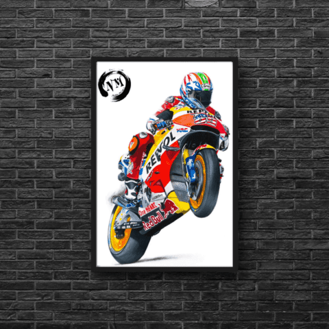 Nicky Hayden Poster Print Wall Art A1 A2 Moto GP Motorbike Sports Pencil Drawing gift LIMITED EDITION