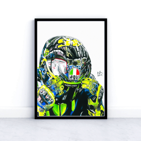 Valentino Rossi Print Picture Poster Moto GP Motorbike Sports The Doctor Portrait 46 Pencil Drawing Art A4 A3 Fan Art Wall Art Decor