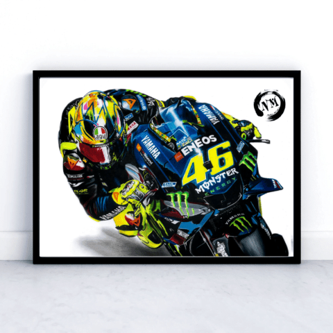 Valentino Rossi Portrait Print Moto GP Motorbike Sports The Doctor #46 Pencil Drawing Print Art A4 A3 Fan Art Wall Art Decor