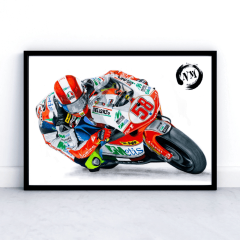 Marco Simoncelli Poster Print Picture Moto GP Motorbike Sports Pencil Drawing Gift Art Tribute Fan Art Wall Art Decor