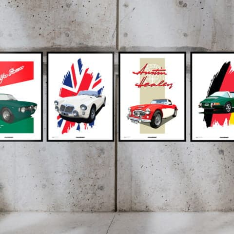 Bespoke Vintage Poster Design with your car printed in high quality over fine art cotton paper