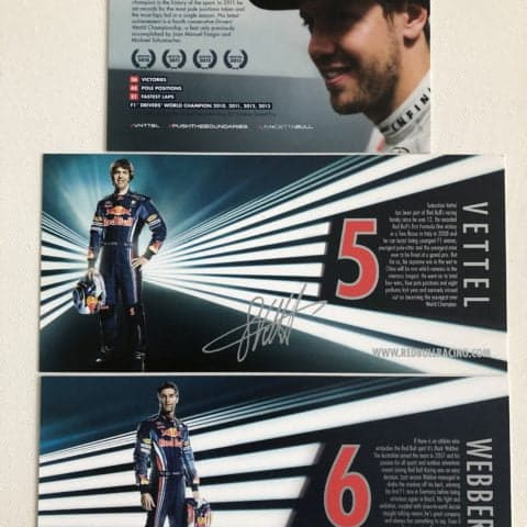 Set of 3 Red Bull Racing Driver Cards / Post Cards