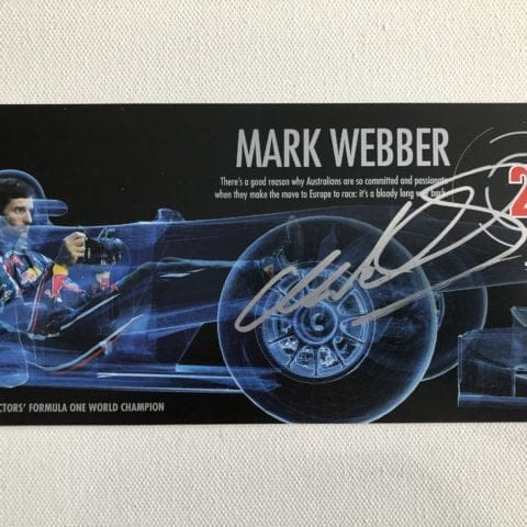 Mark Webber Hand Signed Red Bull Racing Driver Card / Post Card