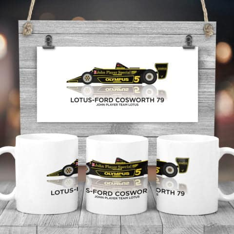 Classic F1 car 11 oz mug with Lotus Ford Cosworth 79 1978 artwork