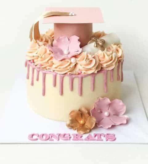 Cream Cake with Pastel Flowers