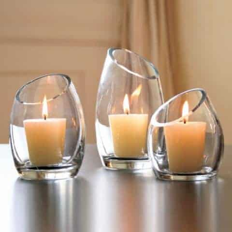 minimalist candle holders with glass material