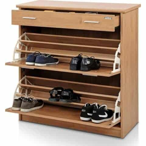 shoe rack with natural finishing
