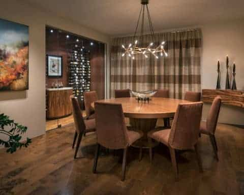 Contemporary dining room with round table