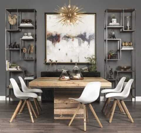 Contemporary dining room with rustic interior