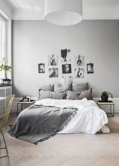 White and grey minimalist bedroom colors