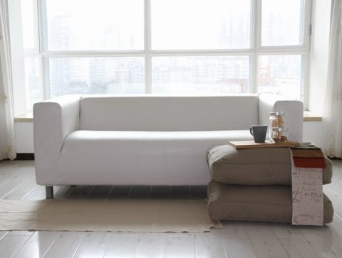 Minimalist white leather couch covers