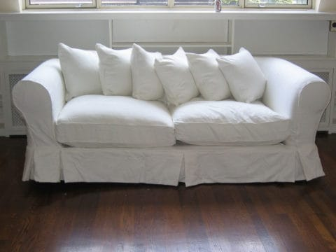 Simply white leather couch covers