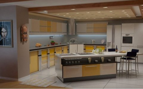 Kitchen with a mini bar for wide room
