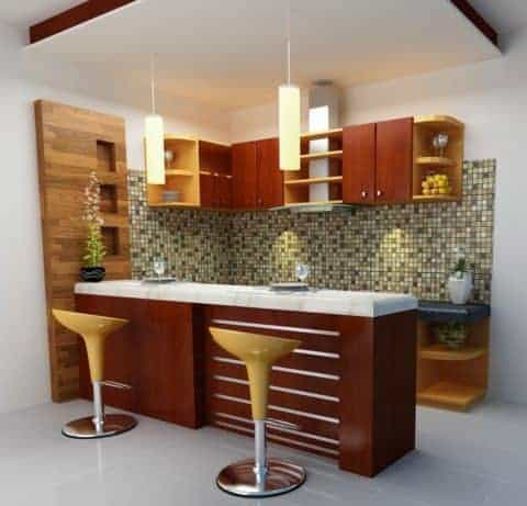 Kitchen with a mini bar lighting