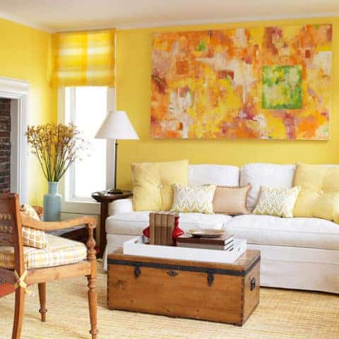 Yellow living room with abstract wall painting