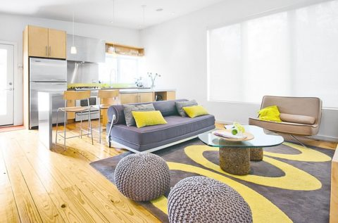 Yellow living room with knitted furniture