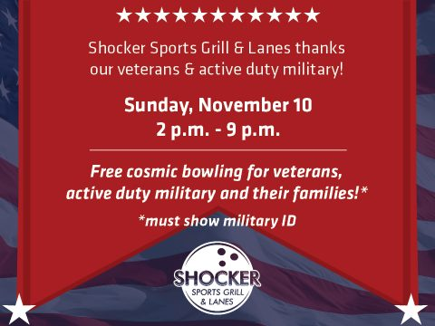 Free bowling for veterans military and families on Nov 10 2019 at Rhatigan Student Center