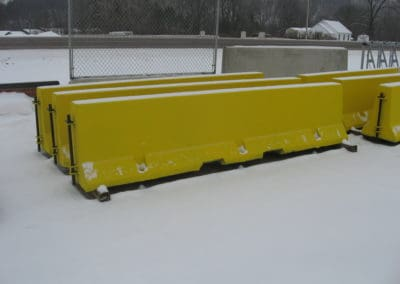 Precast Concrete Median Barrier Painted Yellow