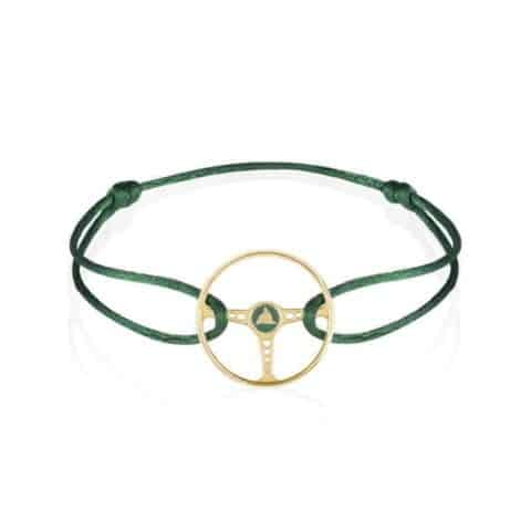 GOLD RACING GREEN STEERING WHEEL GREEN CORD