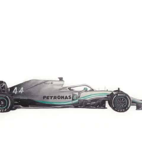 ORIGINAL Mercedes 2019 F1 WO10 (Hamilton) Watercolour Artwork