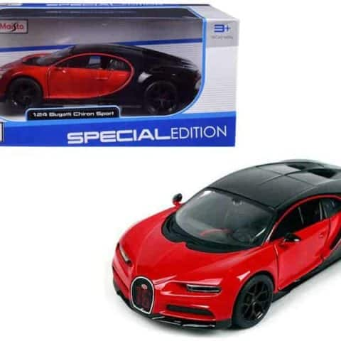 "Bugatti Chiron Sport 16"" Red and Black ""Special Edition"" 1/24 Diecast Model Car by Maisto"""