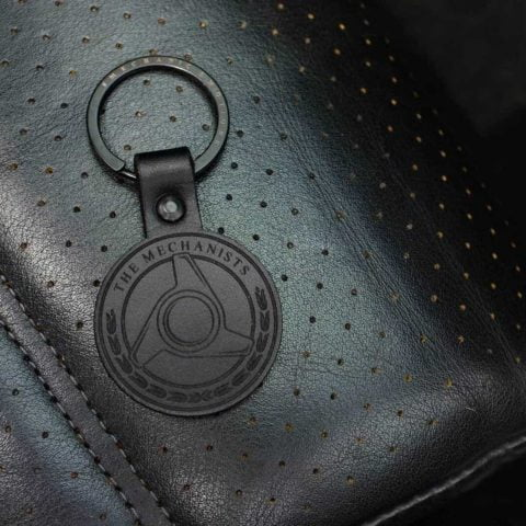 KEYRING HANDMADE BLACK LEATHER