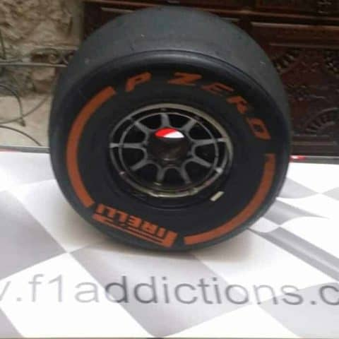 NOW SOLD-LAST 1 -Max Verstappen Red Bull front wheel with a very RED (ULTRA SOF) tyre