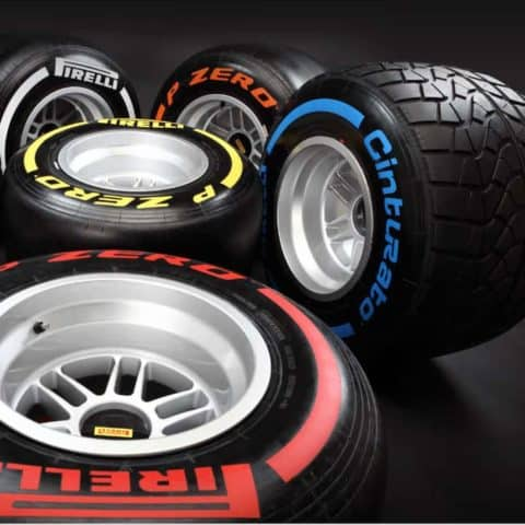 NOW SOLD-Very rare Pirelli tyres in different colours with Seb Vettel World Championship winning REAR wheel