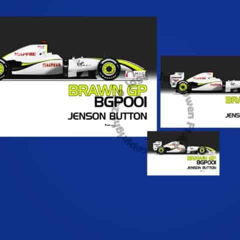 Jenson Button Brawn GP 001 2009 F1 Sticker - Scuderia GP