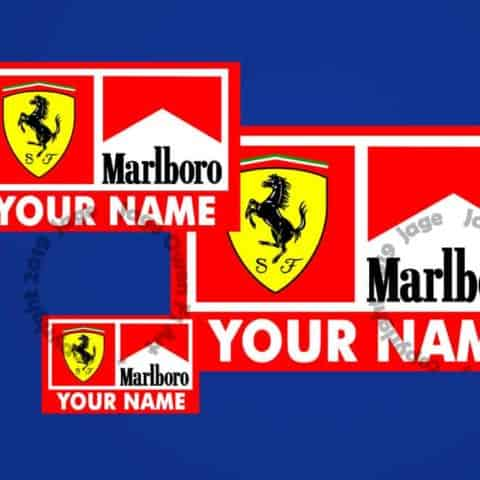 Your Name Custom Ferrari Marlboro F1 Sticker - Scuderia GP