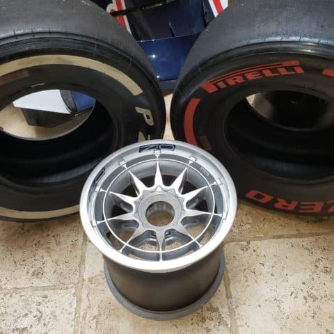 NOW SOLD-Seb Vettel RB9 front wheel with choice of red or white pirelli tyre