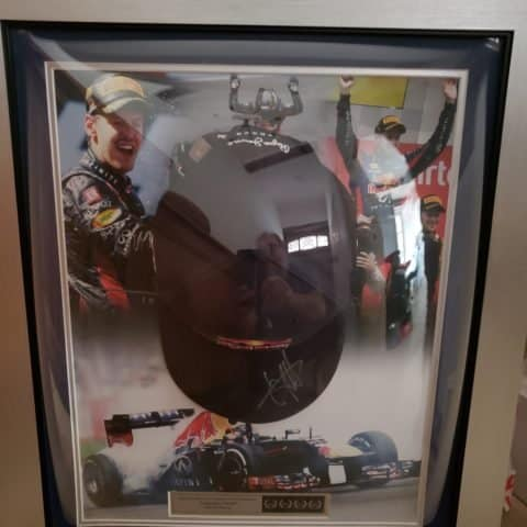 Seb Vettel signed framed Red Bull cap