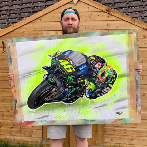Valentino Rossi Graffiti Painting - One Off, unframed