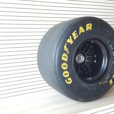 Minardi wheel + aluminum nut + Goodyear tyre. An interesting part coming from the '90s