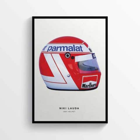 Niki Lauda 1984 Helmet Formula 1 F1, Grand Prix Poster Racing Print (Right)