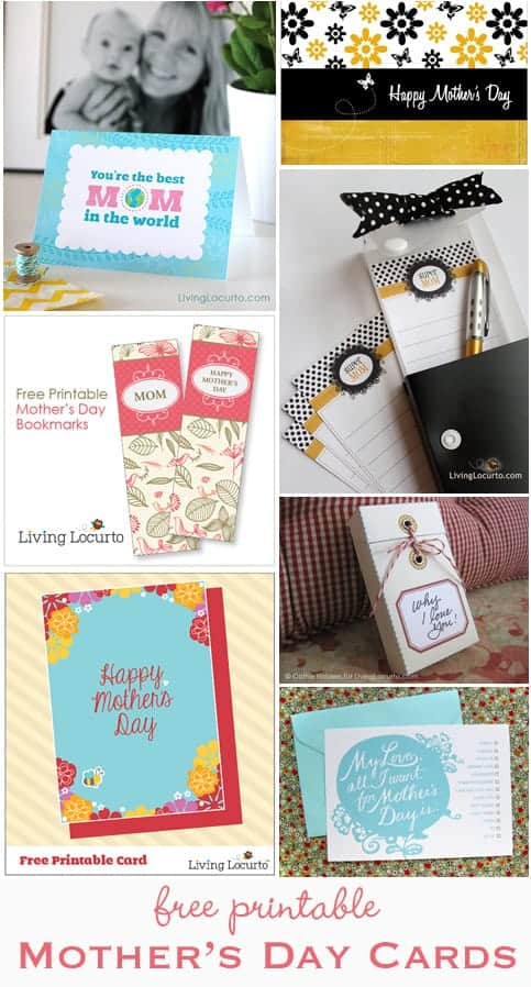 Free Printable Mother's Day Cards at LivingLocurto.com