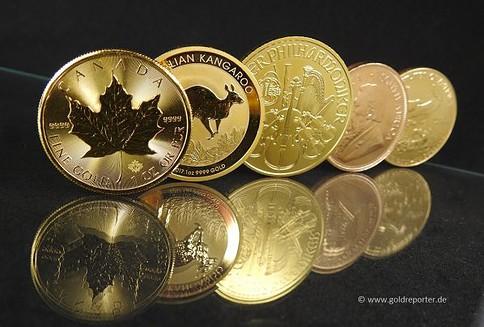 Goldmünzen, Maple Leaf, Känguru, Philharmoniker, Krügerrand, American Eagle (Foto: Goldreporter)