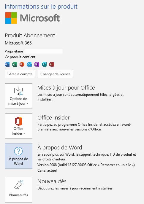 Version Microsoft Office