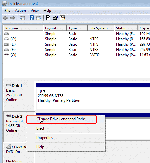 windows screen to change drive letter of various drives or partitions