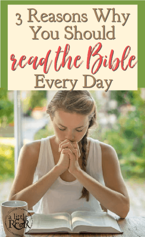 Woman praying Bible at table with coffee and Bible