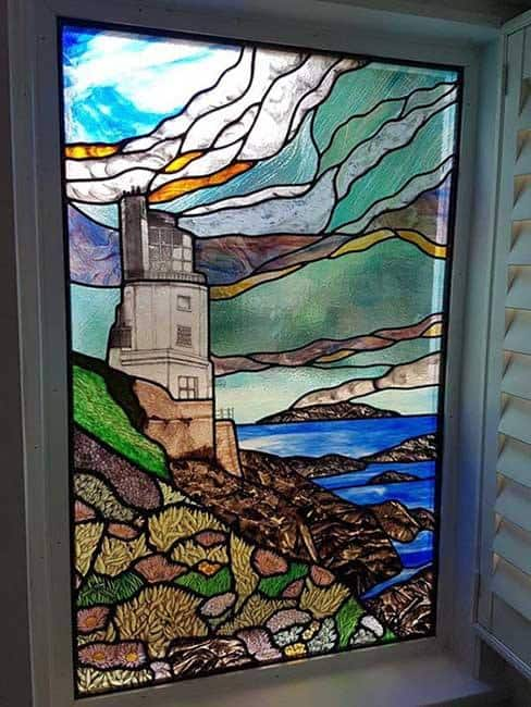 St Anthonys Head Lighthouse St Mawes stained glass design