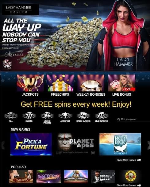 Lady Hammer Casino free bonus