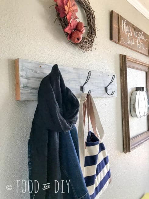 *This DIY Farmhouse Coat Rack can be made in ONE day and adds adorable farmhouse flair to your entryway or mudroom!!