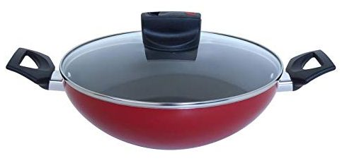 Meyer Safecook Aluminium Non Stick Kadai with Glass Lid