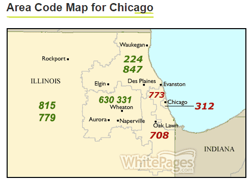 Area code map for Chicago  CHI    WhitePages