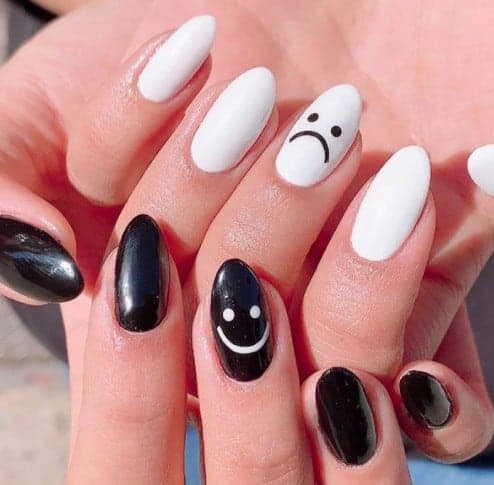 Cute Black and White Nail Design