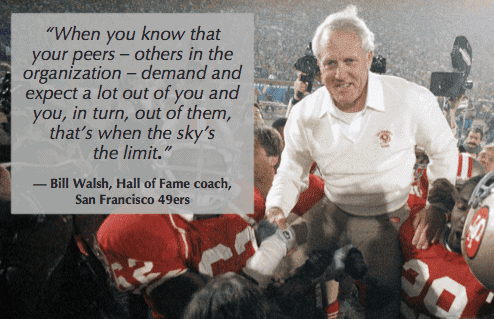 turn around underperforming employees by holding standards like Bill Walsh