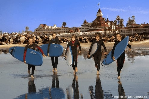 Tteens love surfing on the beach at coronado.