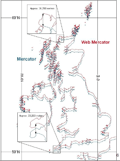 This overlay showing WGS 84 Ellipsoid Mercator in Blue and the Spherical Web Mercator in Red WGS 84 highlights the spatial inaccuracies of the latter projection.