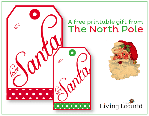 """Free Printable """"From Santa"""" Gift tags by Amy at LivingLocurto.com"""